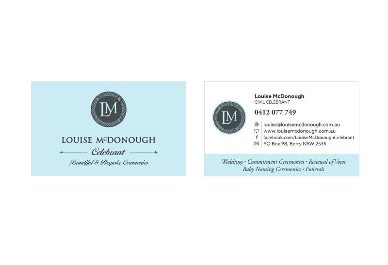 Louise mcdonough civil celebrant ikandee web design louise mcdonough civil celebrant business card design for nowra reheart Image collections